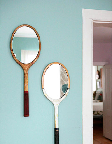 Country Living has the plan for these brilliant racquet mirrors.