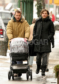 Peter and Maggie Keep Ramona Dry on a Wet NY Walk