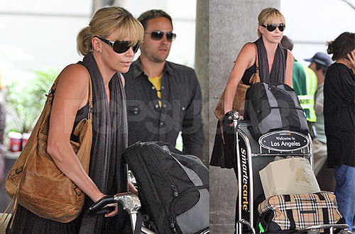 Charlize Theron and Stuart Townsend at LAX