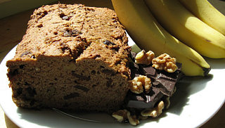 Low Fat Banana Bread With Chocolate, Cherries and Walnuts