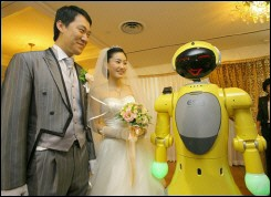 Robot Plays MC At Wedding