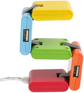 Rainbow Bright Four-Way USB Hub