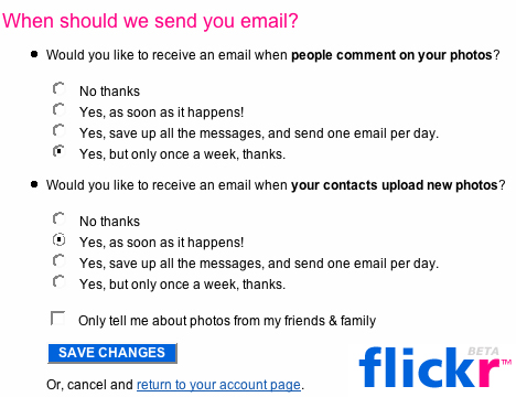Geek Tip: Get Flickr Email Notifications