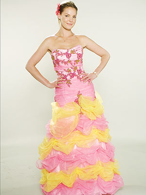 """TAKE THE CAKE """"That was sort of our Barbie on acid dress,"""" Thomas says. """"It was very scratchy, but it was hilarious!"""""""