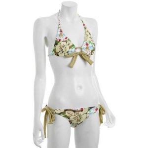 TROPICAL PRINT: Salinas Swimwear floral hawaiian 'Samoa' gold tie bikini