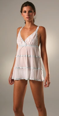 Hanky Panky Lace & Mesh Babydoll Chemise with G-String
