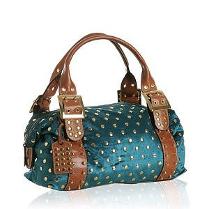 Be & D teal studded velvet 'Garbo' bag