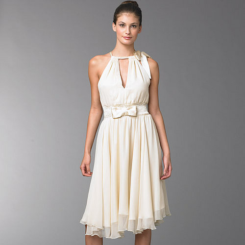 BCBG CREAM SILK DRESS WITH SATIN BOW