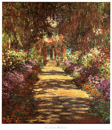 Footpath in the Garden Print by Claude Monet at Art.com