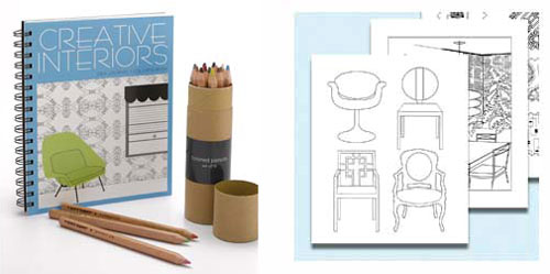Home Library: Creative Interiors Coloring Book