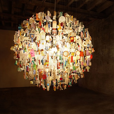 Stuart Haygarth's Found Object Chandeliers