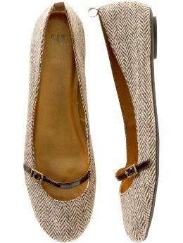 Gap.com: Women: Petites: Herringbone mary jane ballet flat