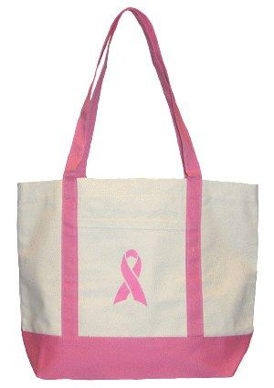 Pink Ribbon Bag - White/Pink Canvas