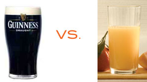Guinness versus Orange Juice