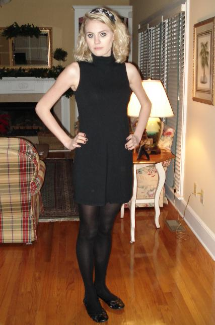 Black Sleeveless Dress with Black Tights